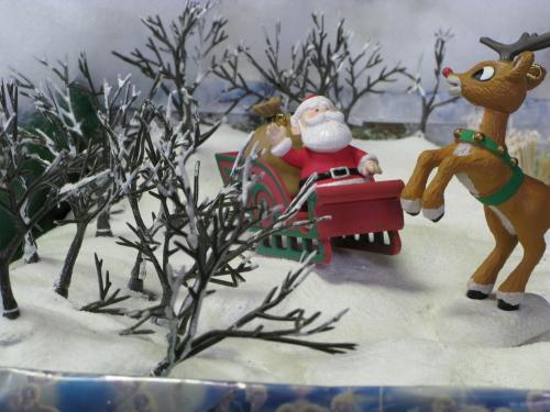 Santa and Reindeer diorama